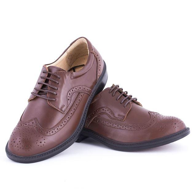 کفش چرم مردانه شیما کفش مدل آکسفورد 140 بندی قهوه ای