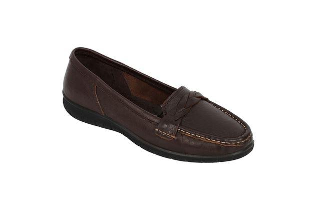 کفش چرم زنانه راجر 916 قهوه ای