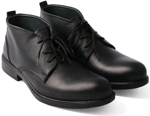 نیم بوت چرم طبیعی مردانه شیما کفش فشن 831 مشکی
