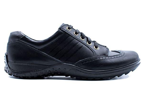کفش چرم طبیعی مردانه شیما کفش بستون 603 مشکی