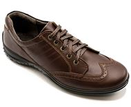 چرم طبیعی اسپرت مردانه شیما کفش بستون 603 قهوه ای